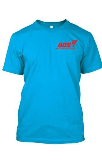 Áo thun đồng phục cổ tròn màu xanh biển logo in
