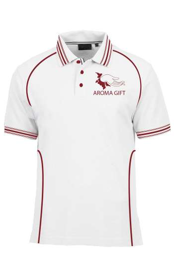 Áo thun đồng phục cổ trụ màu trắng viền đỏ đô logo in