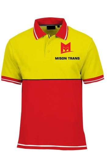 Áo thun đồng phục cổ trụ màu vàng phối đỏ viền trắng logo in