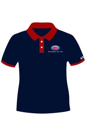 Áo thun đồng phục cổ trụ màu xanh đen viền đỏ logo in