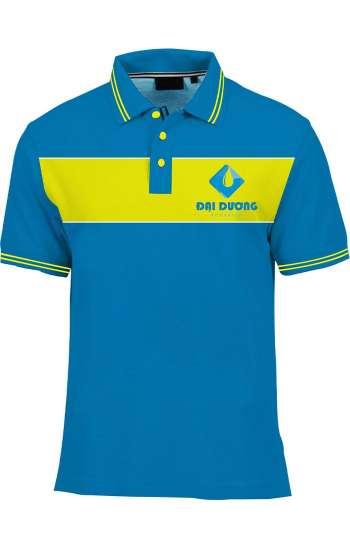 Áo thun đồng phục cổ trụ màu xanh dương phối vàng logo in