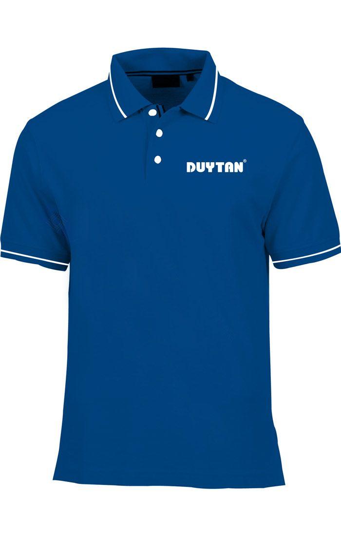 Áo thun đồng phục cổ trụ màu xanh dương viền trắng logo in