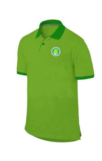 Áo thun đồng phục cổ trụ màu xanh lá viền xanh đậm logo in