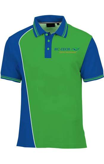 Áo thun đồng phục cổ trụ phối màu xanh lá, xanh dương logo in