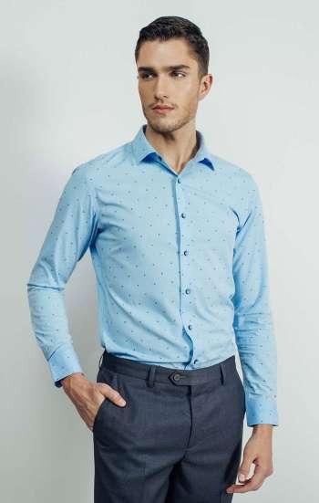 Đồng phục công sở áo sơ mi nam tay dài màu xanh biển chấm đen