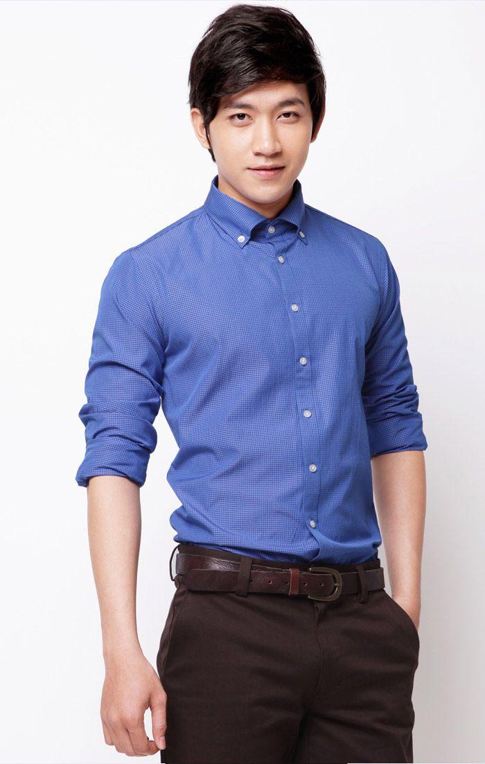 Đồng phục công sở áo sơ mi nam tay dài màu xanh dương
