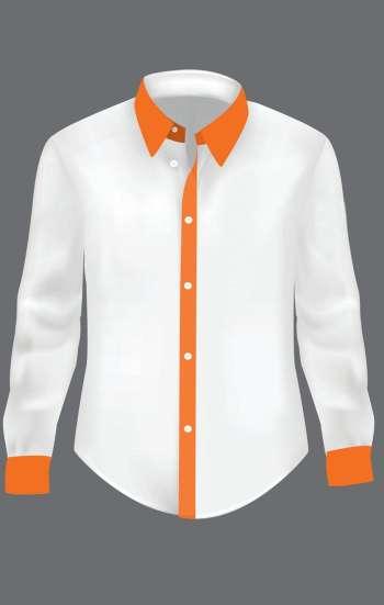 Đồng phục công sở áo sơ mi nữ tay dài màu trắng viền cam