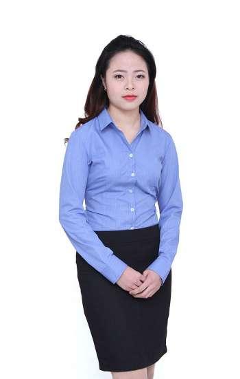 Đồng phục công sở áo sơ mi nữ tay dài màu xanh