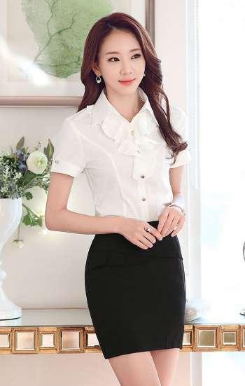Đồng phục công sở áo sơ mi nữ tay ngắn màu trắng có cổ nhún