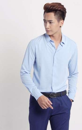 Đồng phục công sở sơ mi nam tay dài màu xanh dương