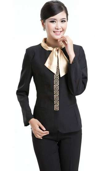 Đồng phục công sở sơ mi nữ tay dài màu đen cổ thắt nơ