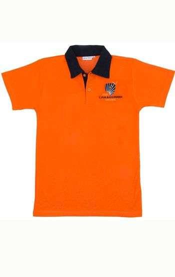 Áo thun đồng phục cổ trụ màu cam cổ đen logo in