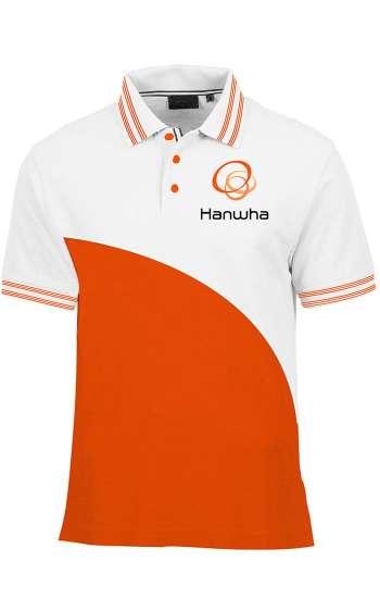 Áo thun đồng phục cổ trụ màu cam phối trắng logo in