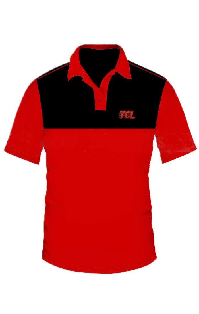 Áo thun đồng phục cổ trụ màu đỏ phối đen logo in