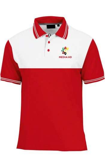 Áo thun đồng phục cổ trụ màu đỏ phối trắng logo in
