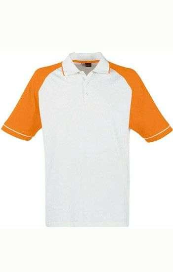 Áo thun đồng phục cổ trụ màu trắng phối cam logo in