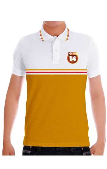 Áo thun đồng phục cổ trụ màu trắng, vàng logo in