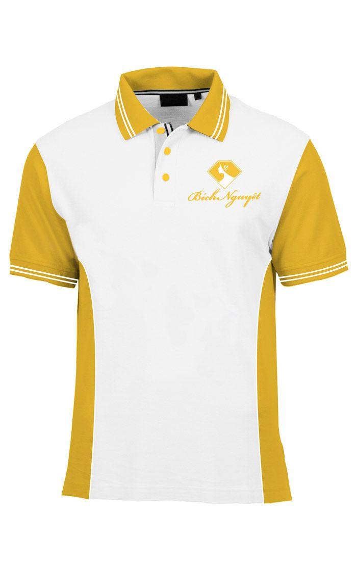 Áo thun đồng phục cổ trụ màu trắng viền vàng logo in