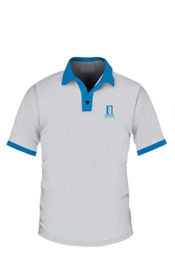 Áo thun đồng phục cổ trụ màu trắng viền xanh logo in