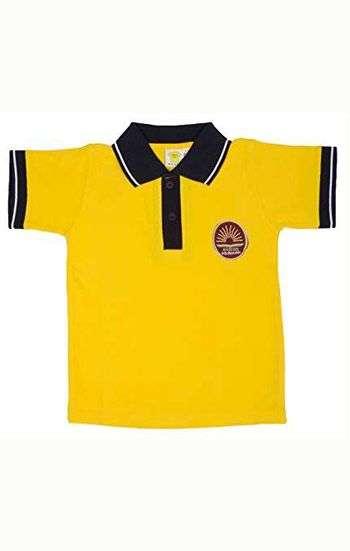 Áo thun đồng phục cổ trụ màu vàng viền đen logo in
