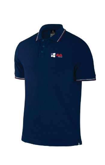 Áo thun đồng phục cổ trụ màu xanh đen viền trắng đỏ logo thêu