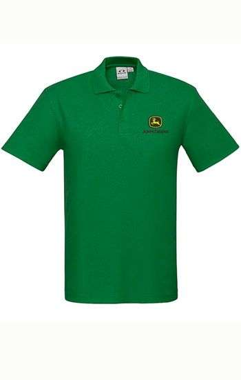 Áo thun đồng phục cổ trụ màu xanh lá logo thêu