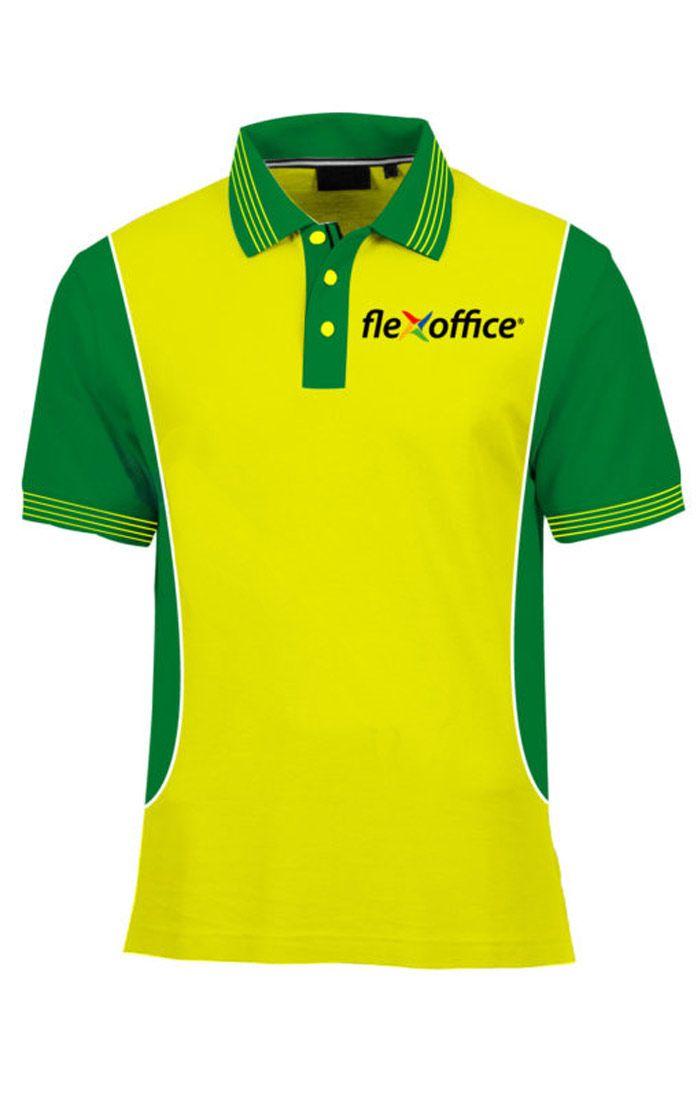 Áo thun đồng phục cổ trụ màu vàng phối xanh lá logo in