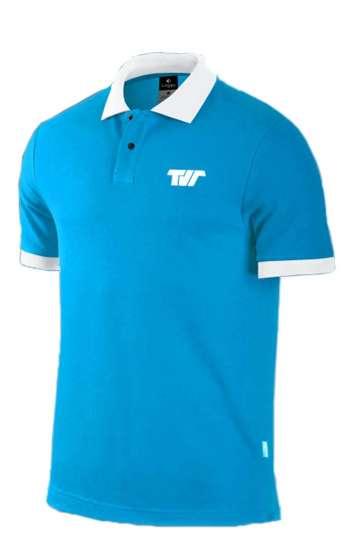 Áo thun đồng phục cổ trụ màu xanh viền trắng logo in