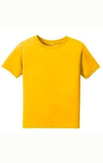 Áo thun trơn đồng phục cổ tròn màu vàng