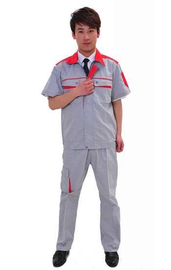 Đồng phục bảo hộ màu nâu viền đỏ tay ngắn