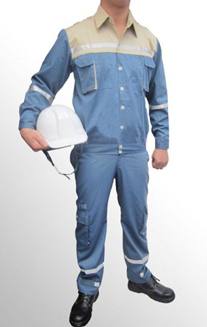 Đồng phục bảo hộ xanh biển có viền phản quang