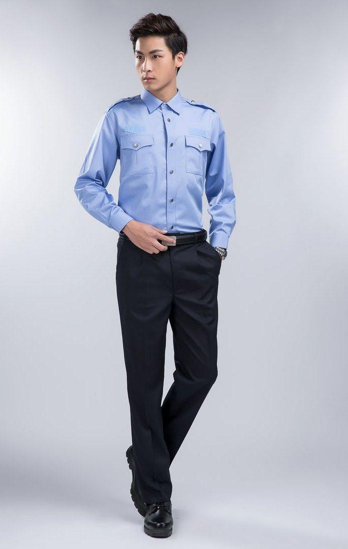 Đồng phục bảo vệ sơ mi xanh dương tay dài quần tây