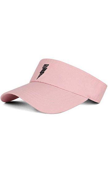 Đồng phục nón kết nửa đầu màu hồng in logo