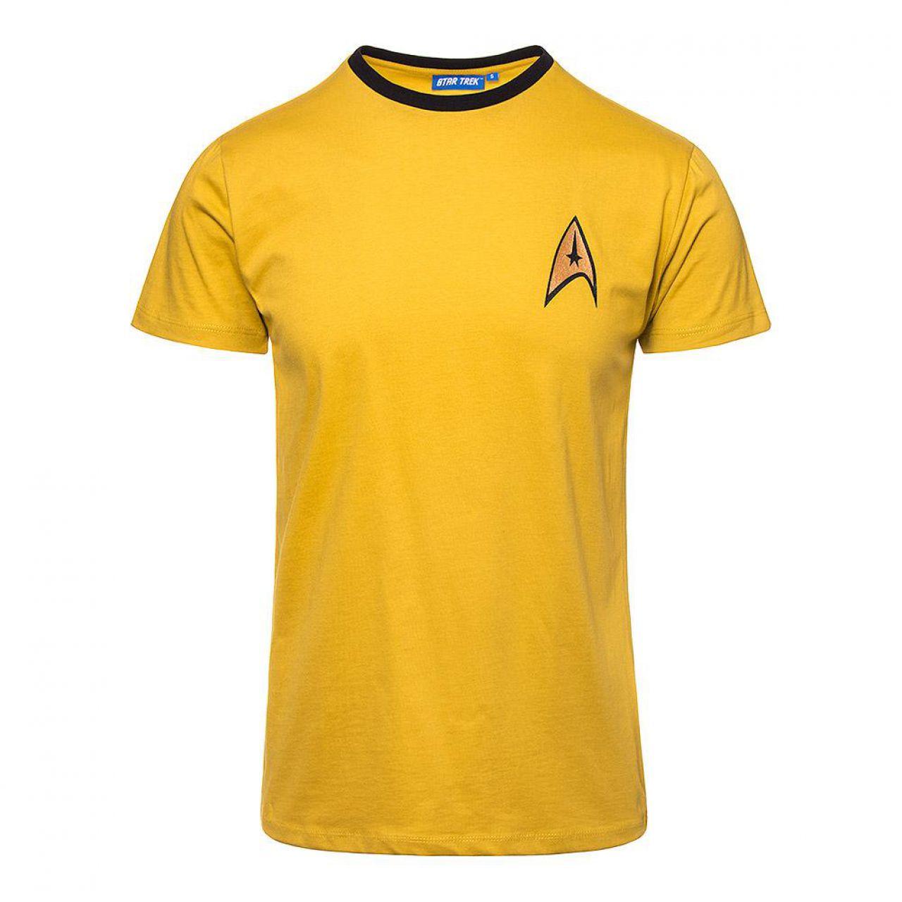 Áo thun đồng phục cổ tròn màu vàng có viền đen ở cổ