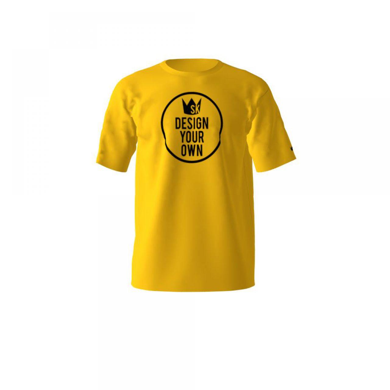 Áo thun đồng phục cổ tròn màu vàng in trước ngực