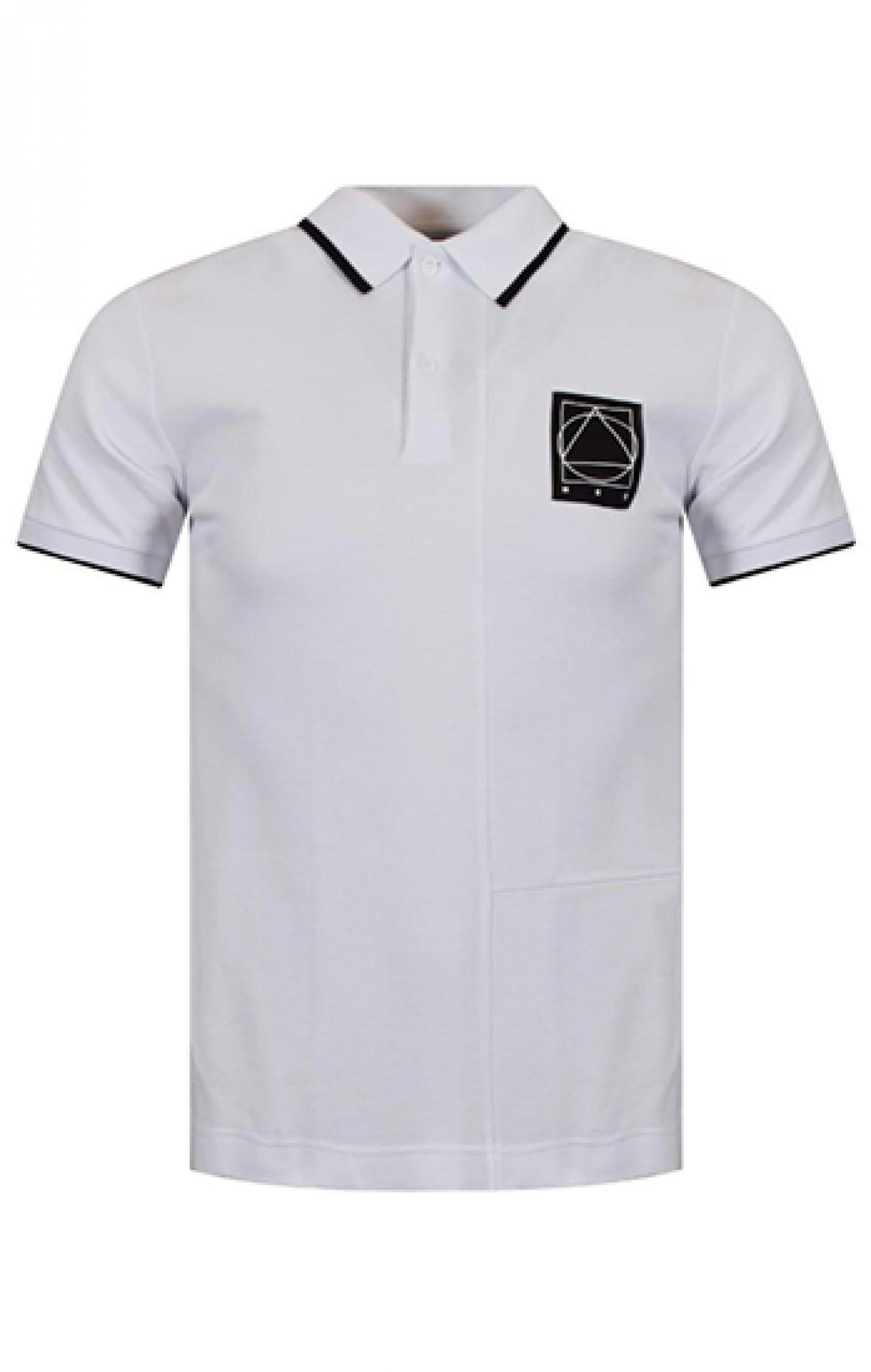 Áo thun đồng phục cổ trụ màu trắng viền đen logo in
