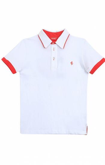 Áo thun đồng phục cổ trụ màu trắng viền đỏ logo thêu