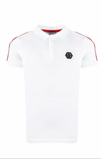 Áo thun đồng phục cổ trụ màu trắng viền đỏ thêu logo