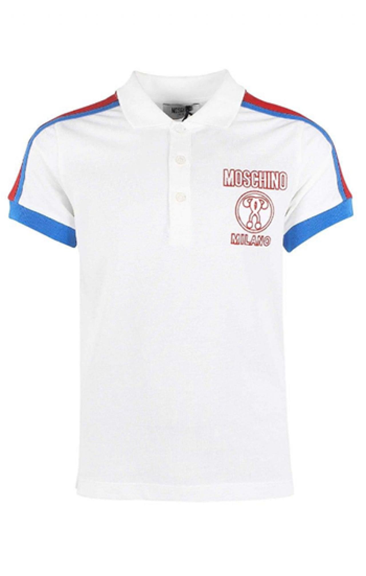 Áo thun đồng phục cổ trụ màu trắng viền xanh đỏ logo in